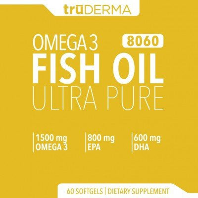TruDERMA Omega 3 Fish Oil Ultra Pure 8060 60 Soft Gels