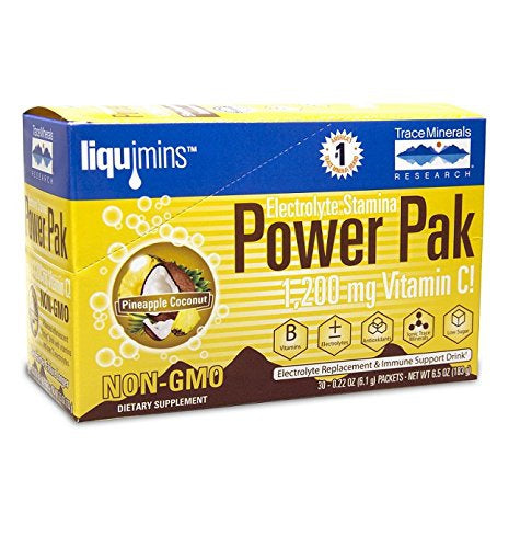 Electrolyte Stamina Power Pak Pineapple Coconut Trace Minerals 30 Packets -(6.1g) each