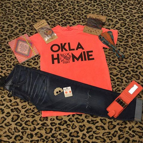 Neon Orange Comfort Colors OKLAHOMIE t-shirt - COUNTRY LACE BOUTIQUE