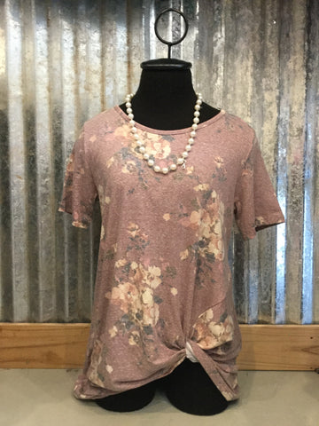 Mauve Floral Knotted  Top
