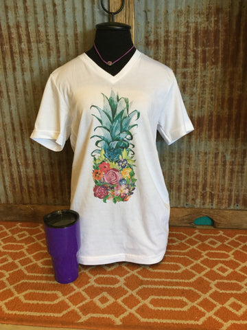Floral pineapple t shirt