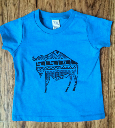 Kids Native Buffalo Short Sleeve T-shirt-Blue - COUNTRY LACE BOUTIQUE