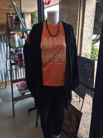 Orange OSU Damask long sleeve women's t-shirt