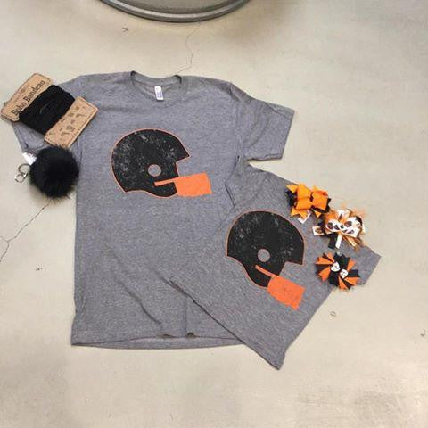Orange & Black football Helmet-women's  t-shirt