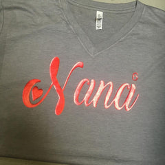 Gold Foil on Charcoal V Neck Nana heart t-shirt