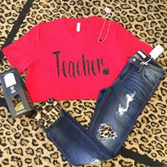 Teacher heart on red v neck with gold glitter t-shirt
