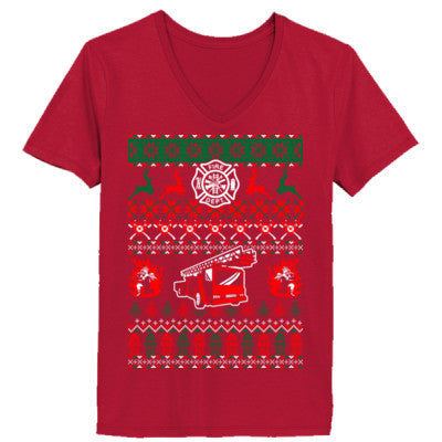 Firefighter Christmas Shirt.Firefighter Ugly Christmas Sweater Xmas Ladies V Neck T Shirt