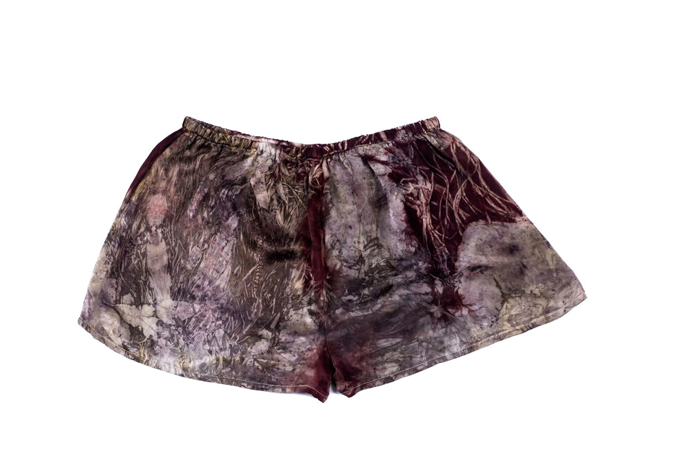 L - Bush Dyed Silk Shorts by Letoria Yulidjirri