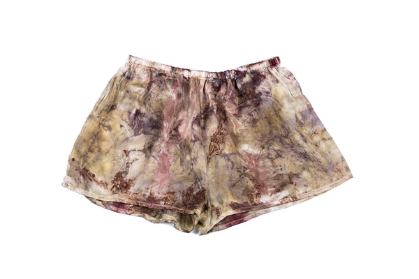 L - Bush Dyed Silk Shorts by Annabell Amagula