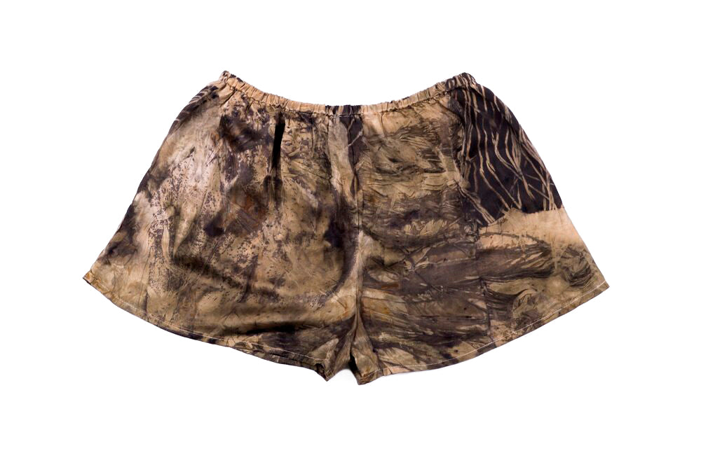 M - Bush Dyed Silk Shorts by Tammy Lalara