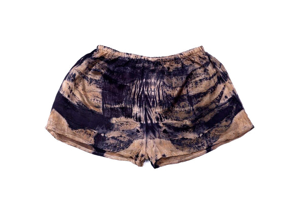 M - Bush Dyed Silk Shorts by Annabell Amagula