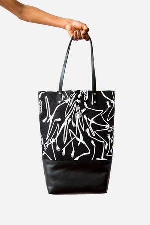 Linen with Leather Tote Bag - Mimih Spirits