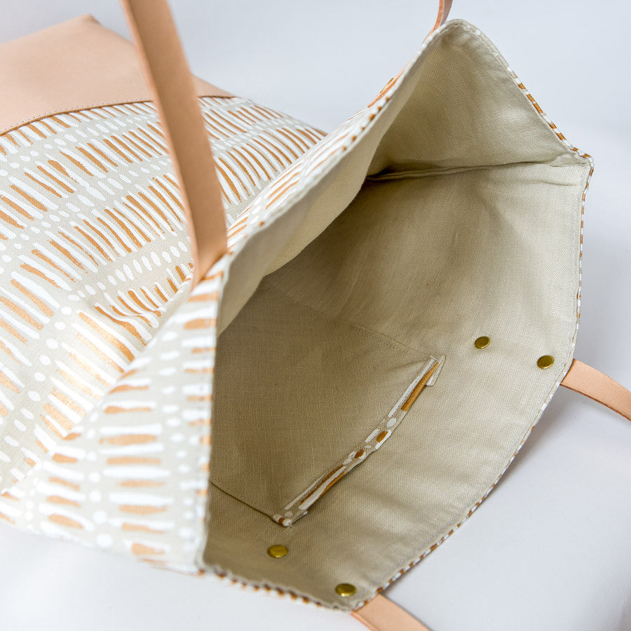 Linen with Leather Tote Bag - Fish Net