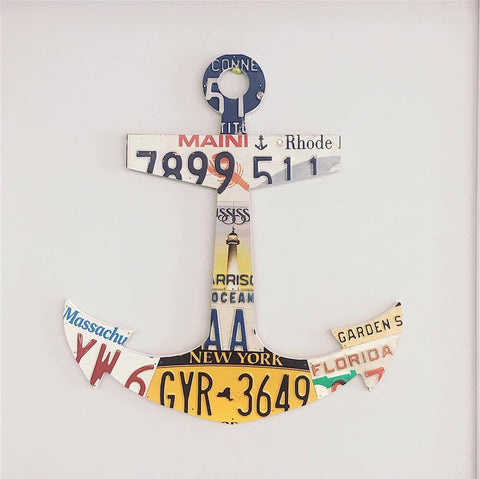 License Plate Anchor Wall Art by Unique Pl8z - Anchor Home Decor - Nautical Art for the Home - Refuse to Sink Art   - Unique Pl8z