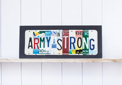 ARMY STRONG by Unique Pl8z  Recycled License Plate Art - Unique Pl8z