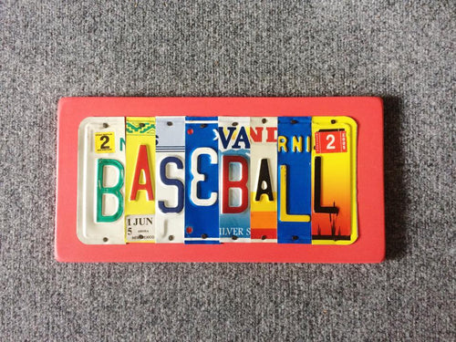 BASEBALL by Unique Pl8z  Recycled License Plate Art - Unique Pl8z