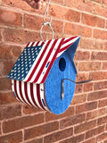 U.S. Flag License Plate Birdhouse by Unique PL8z - Proceeds benefit Mission Start - Up  Recycled License Plate Art - Unique Pl8z
