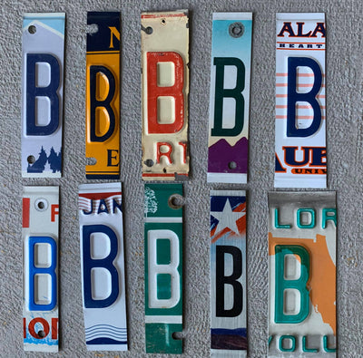 LETTER B  license plate pieces - Unique Pl8z