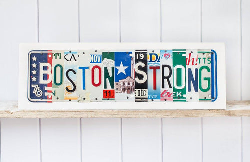 BOSTON STRONG by Unique Pl8z  Recycled License Plate Art - Unique Pl8z
