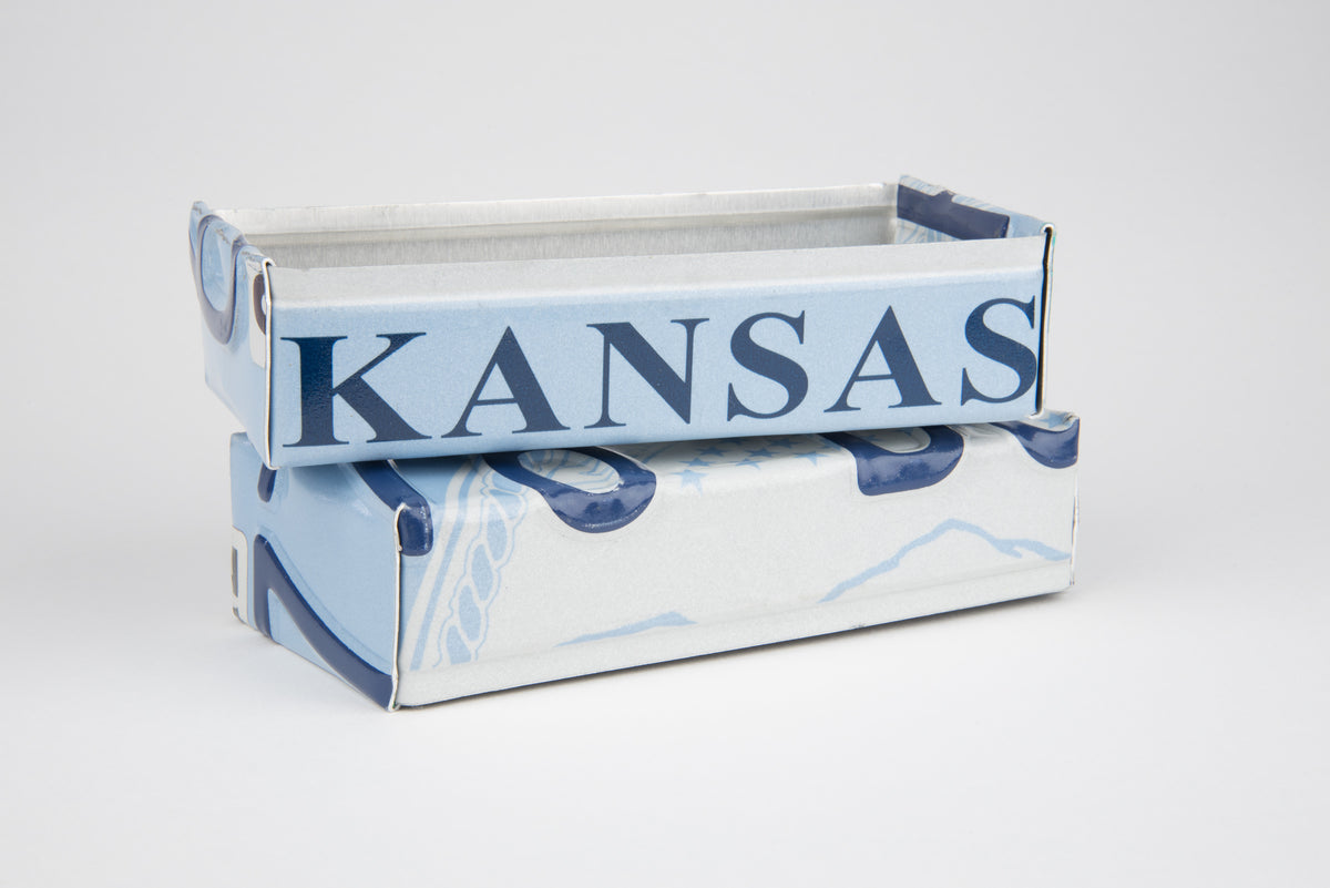 KANSAS TRAY  Recycled License Plate Art - Unique Pl8z