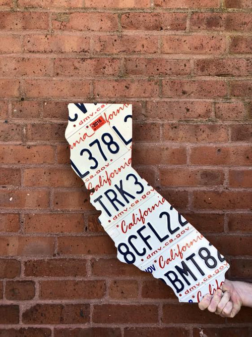 CALIFORNIA STATE SHAPE  Recycled License Plate Art - Unique Pl8z