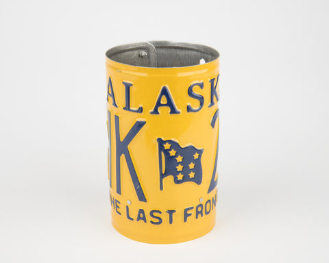 Alaska License Plate Pencil Holder- Alaska Souvenir - Father's Day gift Idea - Alaska Teacher Gift idea - Alaska Gift Idea  Recycled License Plate Art - Unique Pl8z