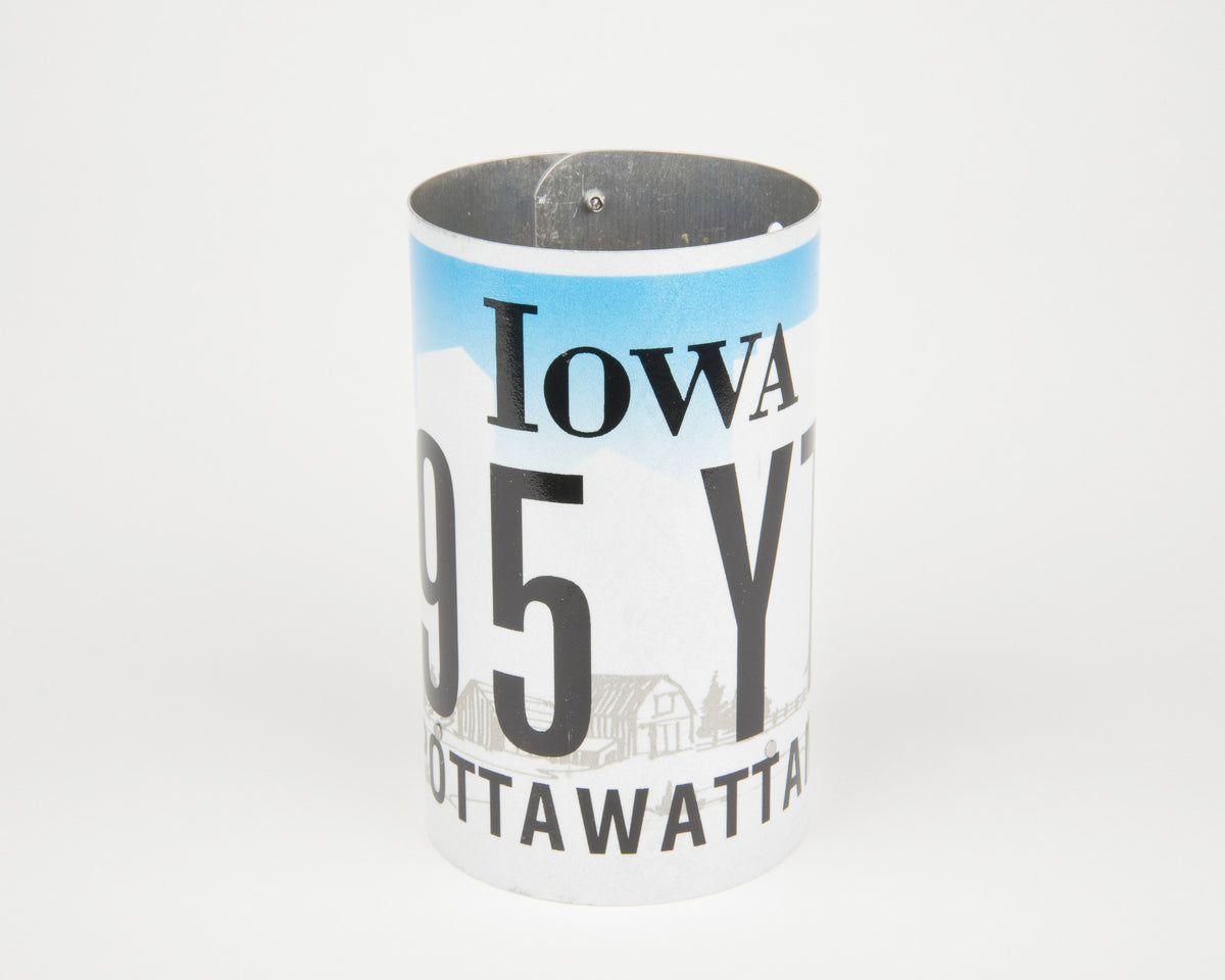 IOWA CANISTER  Recycled License Plate Art - Unique Pl8z