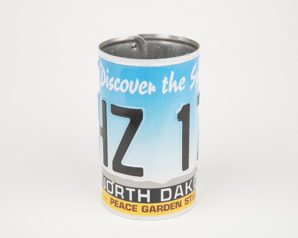NORTH DAKOTA CANISTER  Recycled License Plate Art - Unique Pl8z