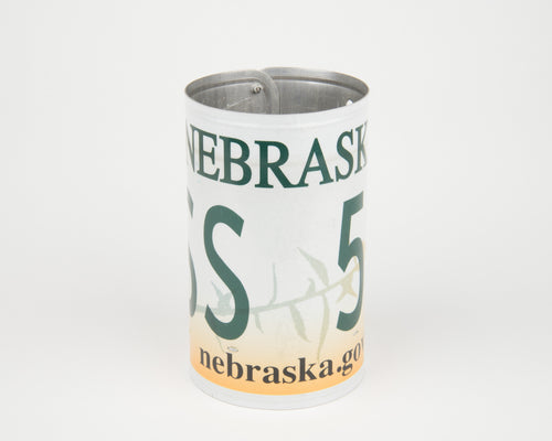 NEBRASKA CANISTER  Recycled License Plate Art - Unique Pl8z