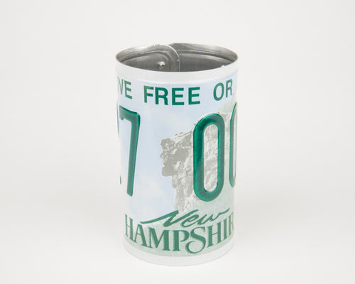 NEW HAMPSHIRE CANISTER  Recycled License Plate Art - Unique Pl8z
