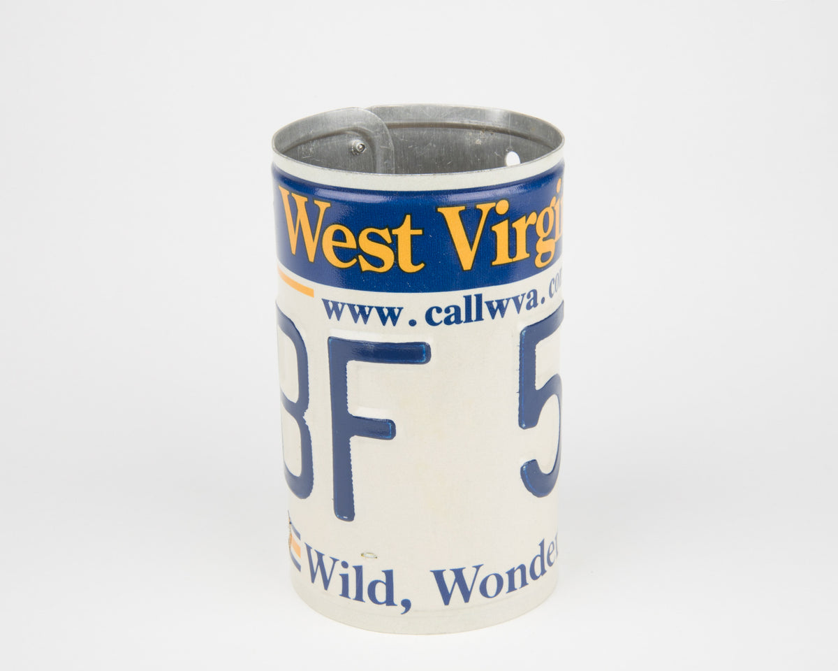 WEST VIRGINIA CANISTER  Recycled License Plate Art - Unique Pl8z