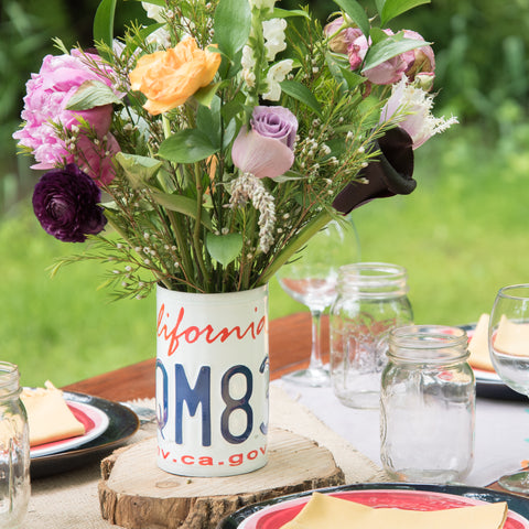 License Plate Vase - Mother's Day Gift  Recycled License Plate Art - Unique Pl8z