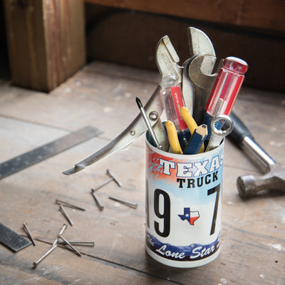 LICENSE PLATE CANISTER - TOOL STORAGE  Recycled License Plate Art - Unique Pl8z