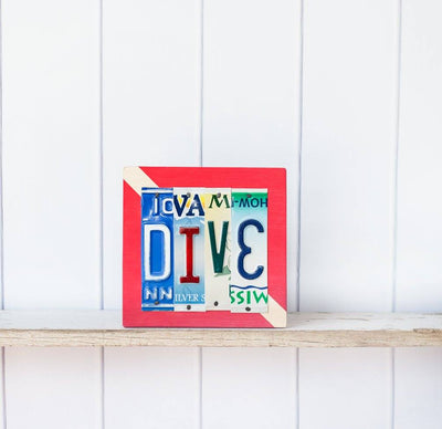 DIVE by Unique Pl8z  Recycled License Plate Art - Unique Pl8z