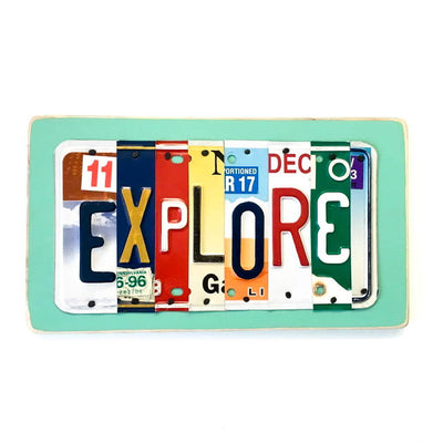 EXPLORE by Unique Pl8z  Recycled License Plate Art - Unique Pl8z