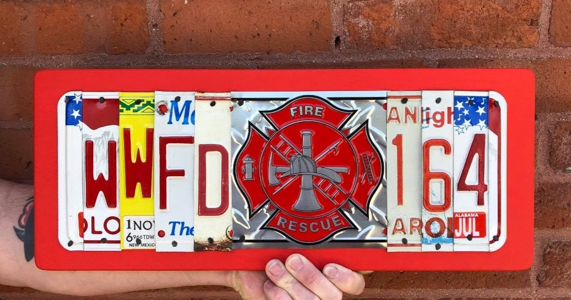 FIREMAN STATION & BADGE #  Recycled License Plate Art - Unique Pl8z