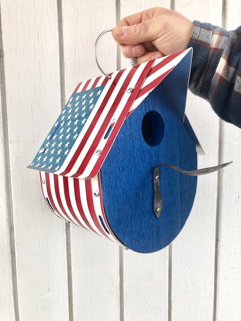 U.S. FLAG birdhouse  Recycled License Plate Art - Unique Pl8z