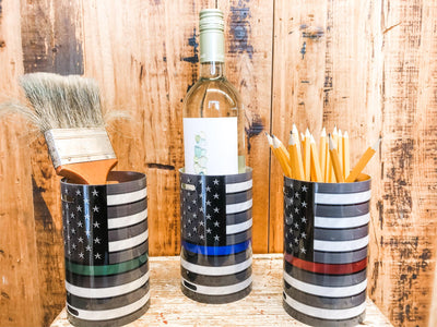 THIN LINE CANISTER - PROCEEDS BENEFIT MISSION START UP  Recycled License Plate Art - Unique Pl8z