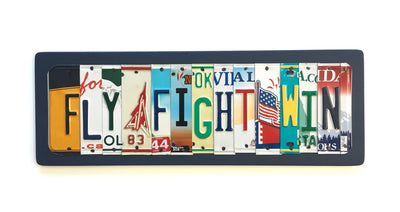 FLY FIGHT WIN by Unique Pl8z  Recycled License Plate Art - Unique Pl8z