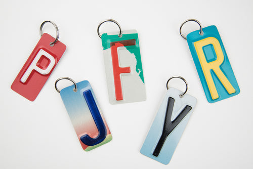 SET OF 5 KEY CHAINS  Recycled License Plate Key Chain - Unique Pl8z