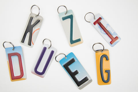 Letters A - Z Key Chain - SET OF 7 KEY CHAINS - License Plate Key Chain - You Choose the Letters - Bridal Party Gift - Groomsmen Gift - Wedding Favor - Bridesmaid gift - Stocking Stuffers - Gift Tags - Teacher gifts  Recycled License Plate Key Chain - Unique Pl8z