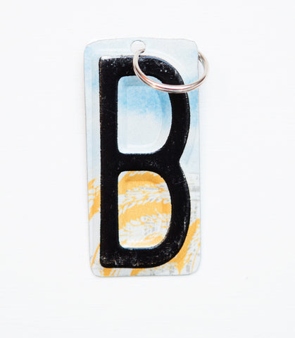 Letter B license plate key chain, initial key chain, personalized key chain, monogram key fob  Recycled License Plate Key Chain - Unique Pl8z
