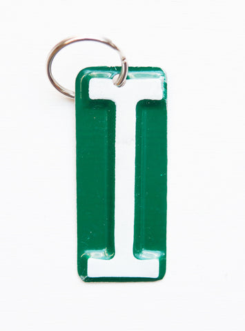 Letter I License Plate Key Chain, Initial Key Chain, Monogram accessory, Personalized key chain