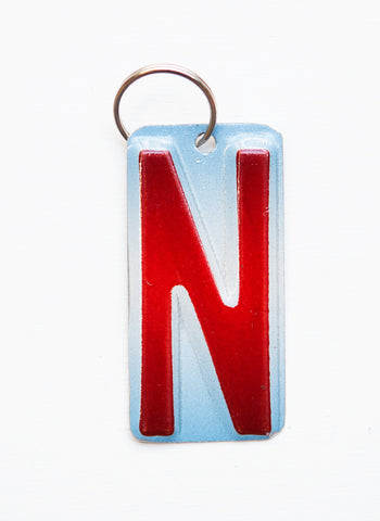 Letter N License Plate Key Chain, Initial Key Chain, Monogram accessory, Personalized key chain