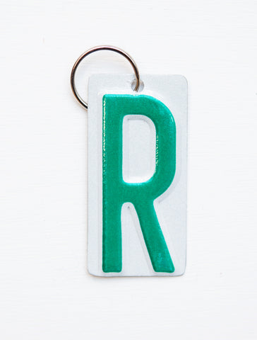 Letter R License Plate Key Chain, Initial Key Chain, Monogram accessory, Personalized key chain  Recycled License Plate Key Chain - Unique Pl8z