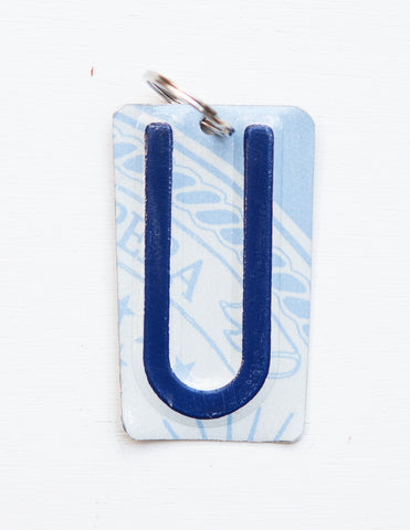 Letter U License Plate Key Chain, Initial Key Chain, Monogram accessory, Personalized key chain  Recycled License Plate Key Chain - Unique Pl8z