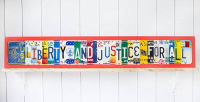 LIBERTY AND JUSTICE FOR ALL by Unique Pl8z  Recycled License Plate Art - Unique Pl8z