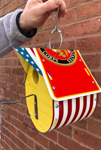 MARINE CORPS birdhouse  Recycled License Plate Art - Unique Pl8z