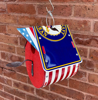 NAVY birdhouse  Recycled License Plate Art - Unique Pl8z