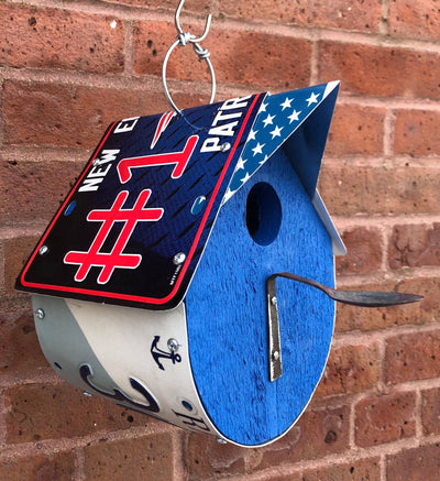 PATRIOTS birdhouse  Recycled License Plate Art - Unique Pl8z
